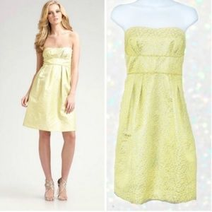 BCBGMaxAria Yellow Strapless A-line Cocktail Dress